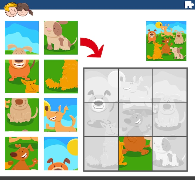Jogo de quebra-cabeça com personagens animais de cães