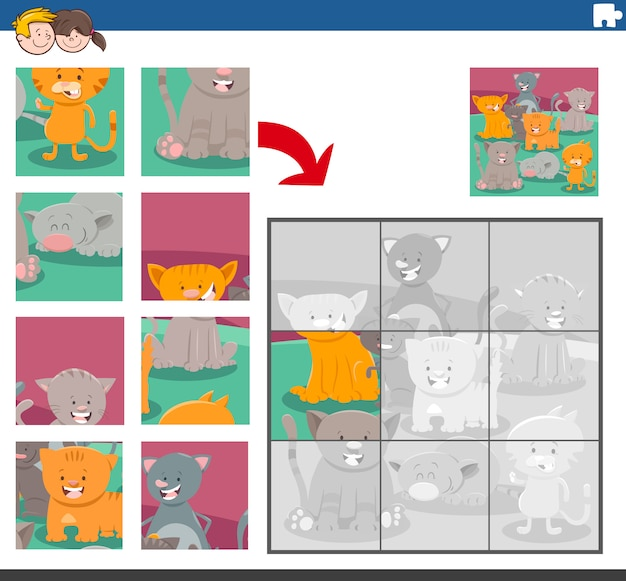 Jogo de quebra-cabeça com personagens animais de gatos
