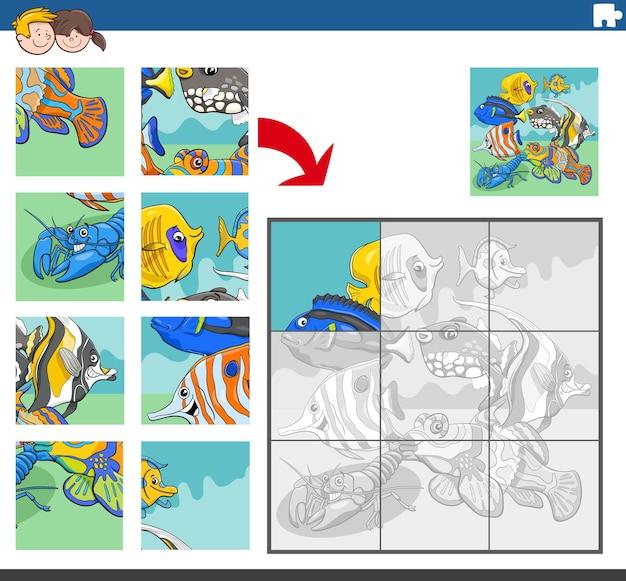 Jogo de quebra-cabeça com personagens de animais peixes tropicais
