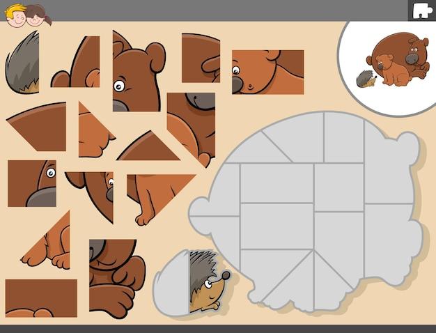 Jogo de quebra-cabeça com personagens de animais ursos e ouriços