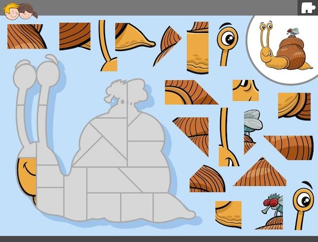 Jogo de quebra-cabeça com personagens de desenhos animados de caracol e mosca