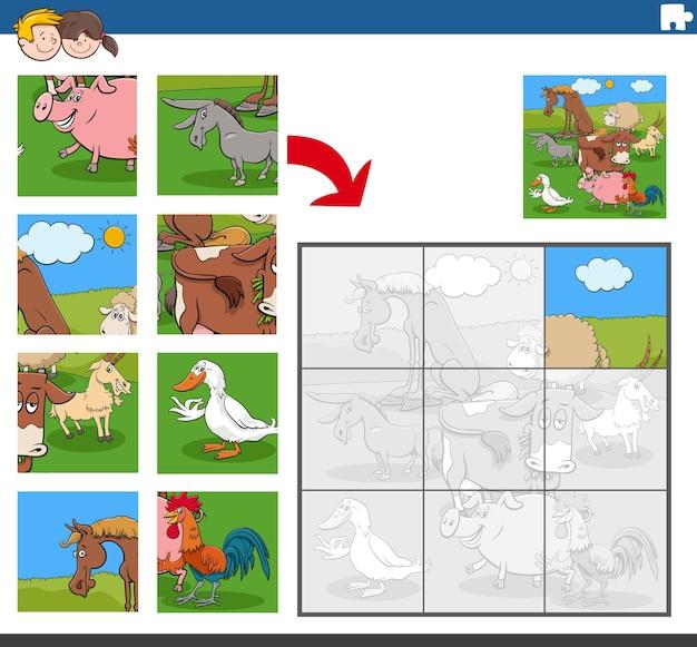 Jogo de quebra-cabeça com personagens engraçados de animais de fazenda