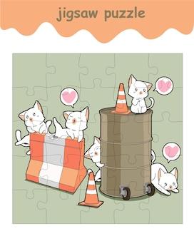 Jogo de quebra-cabeça de gatos adoráveis com barreiras