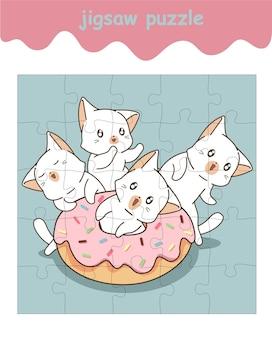 Jogo de quebra-cabeça de gatos adoráveis com rosquinha rosa