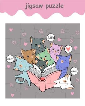 Jogo de quebra-cabeça de gatos adoráveis lendo um livro