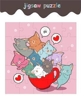 Jogo de quebra-cabeça de gatos adoráveis na xícara de café