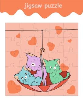 Jogo de quebra-cabeça de gatos adoráveis no guarda-chuva