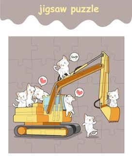 Jogo de quebra-cabeça de gatos adoráveis no trator