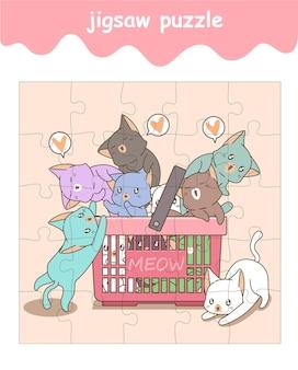 Jogo de quebra-cabeça de gatos bebês no desenho animado da cesta