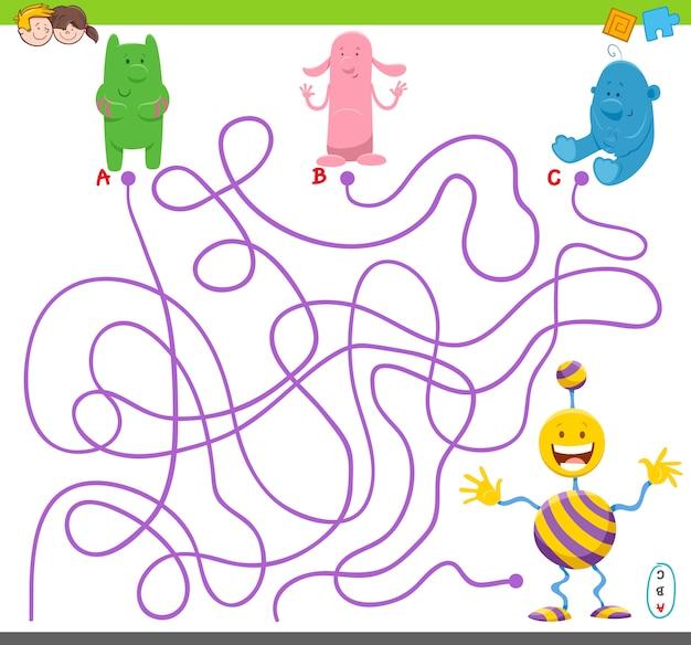 Jogo de quebra-cabeça de labirinto com alienígenas engraçados