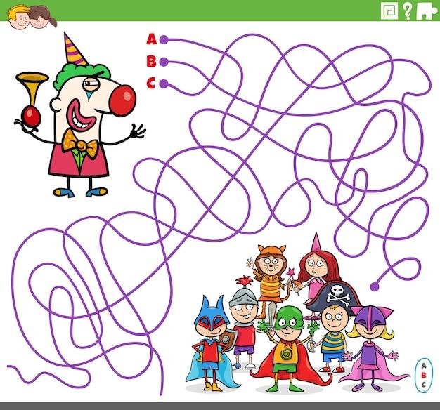 Jogo de quebra-cabeça de labirinto com personagem de desenho animado de palhaço e festa a fantasia para crianças