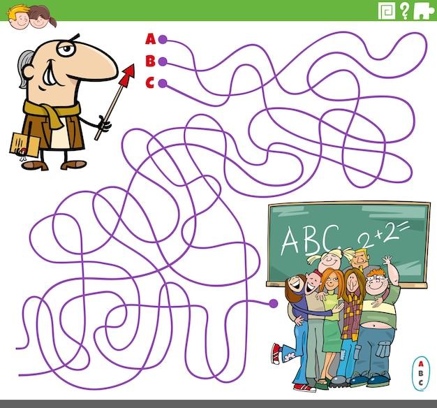 Jogo de quebra-cabeça de labirinto de linhas com personagem de desenho animado do professor e alunos