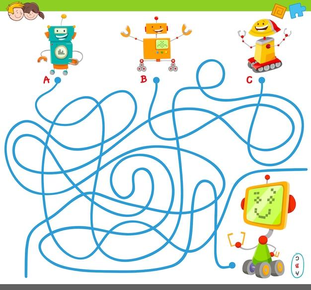 Jogo de quebra-cabeça de labirinto de linhas com robôs