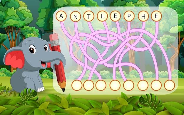 Jogo de quebra-cabeça de lógica para estudo inglês com elefante
