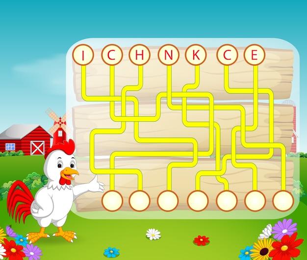 Jogo de quebra-cabeça de lógica para estudo inglês com galo