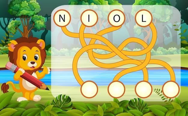 Jogo de quebra-cabeça de lógica para estudo inglês com leão
