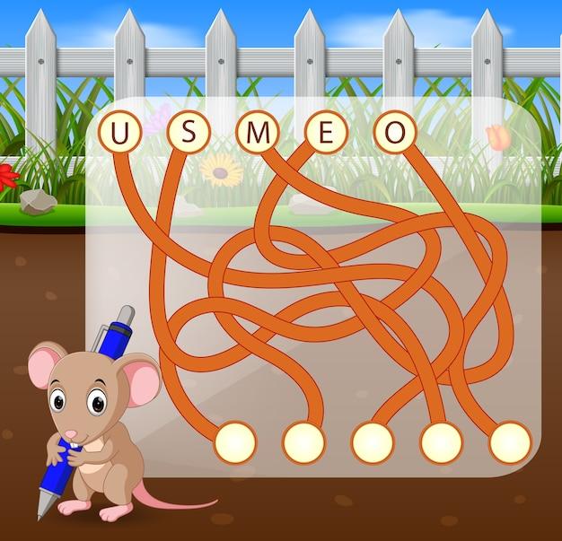 Jogo de quebra-cabeça de lógica para estudo inglês com mouse