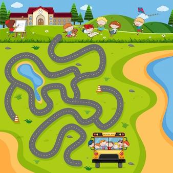 Jogo de quebra-cabeça de ônibus escolar maze Vetor Premium