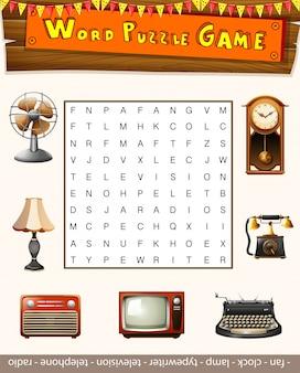Jogo de quebra-cabeça de palavras para objetos antiqu