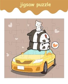 Jogo de quebra-cabeça de pandas e gato no carro