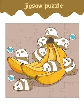 Jogo de quebra-cabeça de pequenos pandas com banana