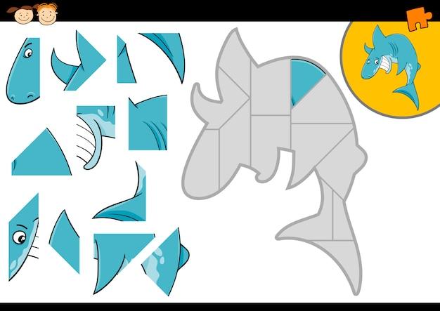Jogo de quebra-cabeça de tubarão de desenhos animados