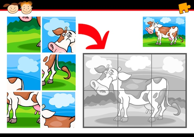 Jogo de quebra-cabeça de vaca de desenho animado