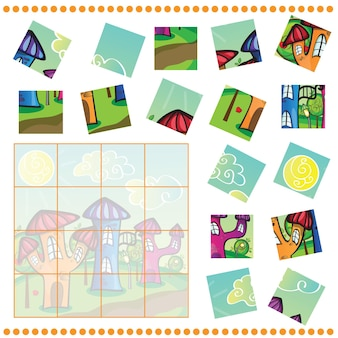Jogo de quebra-cabeça para crianças - cidade dos desenhos animados