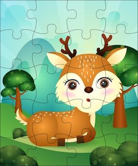 Jogo de quebra-cabeça para crianças com ilustração de cervos