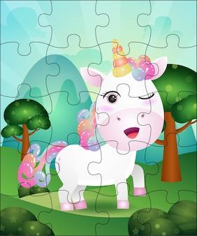 Jogo de quebra-cabeça para crianças com ilustração fofa de unicórnio