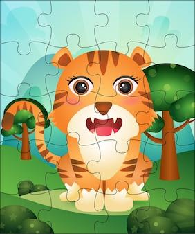 Jogo de quebra-cabeça para crianças com ilustração fofa do tigre