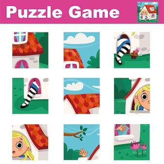 Jogo de quebra-cabeça para crianças com o tema alice no país das maravilhas combine as peças e complete o quadro