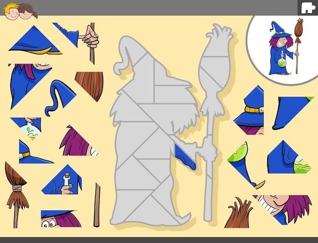 Jogo de quebra-cabeça para crianças com personagem de desenho animado bruxa com vassoura e poção
