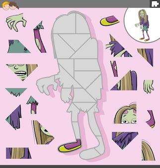 Jogo de quebra-cabeça para crianças com personagem de desenho animado zumbi.