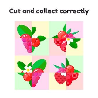 Jogo de quebra-cabeça para crianças em idade pré-escolar e escolar.