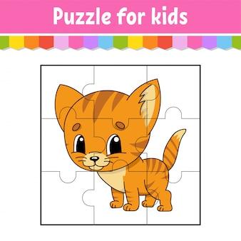 Jogo de quebra-cabeça para crianças. peças de quebra-cabeças. planilha de cores.