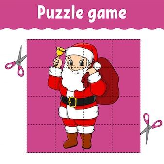 Jogo de quebra-cabeça para crianças. planilha de desenvolvimento de educação.