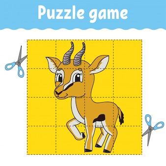 Jogo de quebra-cabeça para educação infantil. planilha de desenvolvimento de educação.