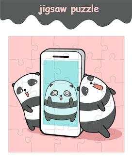 Jogo de quebra-cabeças de adoráveis pandas com celular