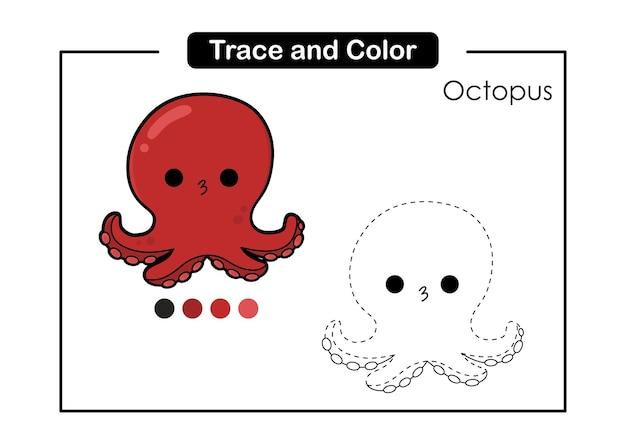 Jogo de rastreamento e cor para crianças com um polvo bonito da vida dos animais marinhos.