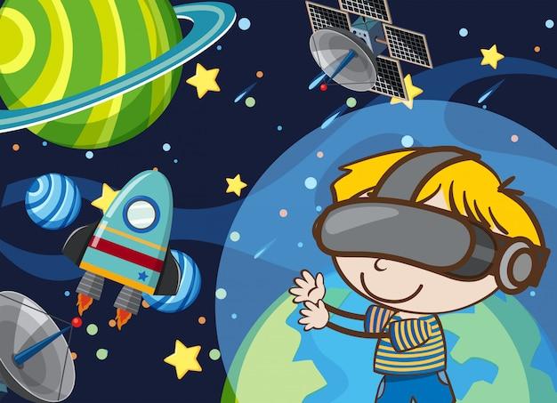 Jogo de realidade virtual de espaço de jogo de criança