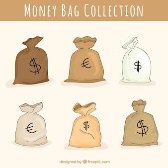 Jogo de sacos de dinheiro com dólar e símbolo do euro