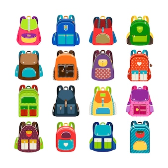 Jogo de schoolbag das crianças isolado. crianças coloridas mochilas de desenhos animados para ilustração vetorial de estudo de escola