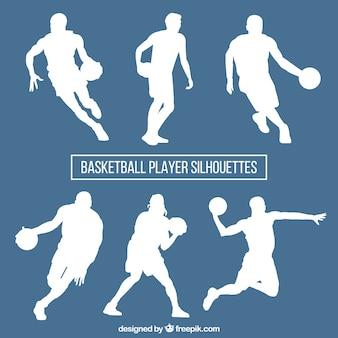 Jogo de silhuetas de basquete brancas