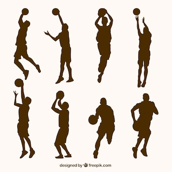 Jogo de silhuetas de jogadores de basquete