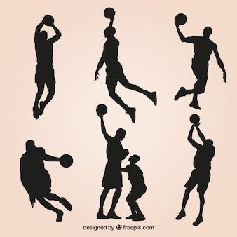 Jogo de silhuetas e jogadores de basquete