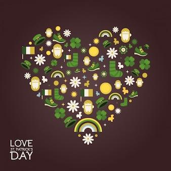 Jogo de símbolos do dia do st patricks de coração