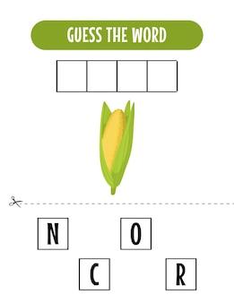 Jogo de soletrar para crianças com ilustração de milho
