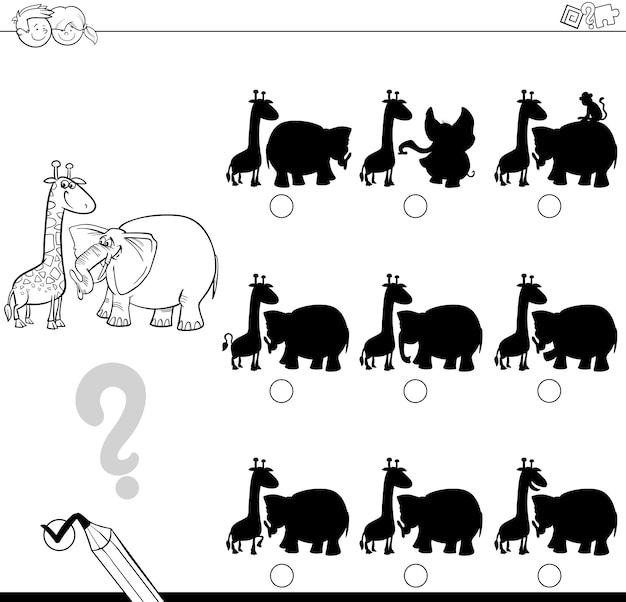 Jogo de sombra com animais para colorir