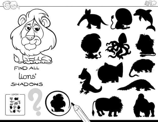 Jogo de sombra com livro de cor de leões